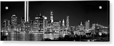 New York City Bw Tribute In Lights And Lower Manhattan At Night Black And White Nyc Acrylic Print by Jon Holiday