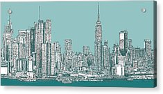 New York City In Blue-green Acrylic Print by Building  Art
