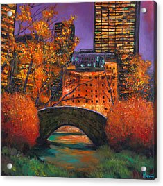 New York City Night Autumn Acrylic Print by Johnathan Harris