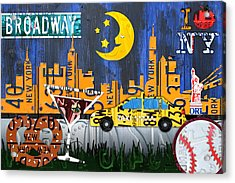 New York City Nyc The Big Apple License Plate Art Collage No 1 Acrylic Print by Design Turnpike