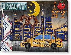 New York City Nyc The Big Apple License Plate Art Collage No 2 Acrylic Print by Design Turnpike