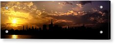 New York City Skyline At Sunset Panorama Acrylic Print by Vivienne Gucwa