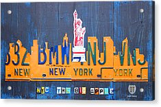 New York City Skyline License Plate Art Acrylic Print by Design Turnpike