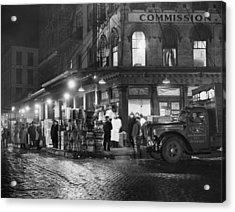New York City Street At Night, Circa Acrylic Print by Everett