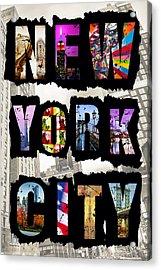 New York City Text 2 Acrylic Print by Az Jackson