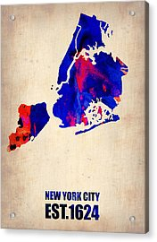New York City Watercolor Map 1 Acrylic Print by Naxart Studio