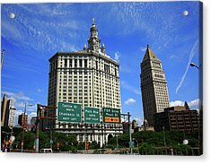 New York City With Local Traffic Signs Acrylic Print by Frank Romeo