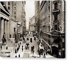 New York Citys Wall Street, Looking Acrylic Print by Everett
