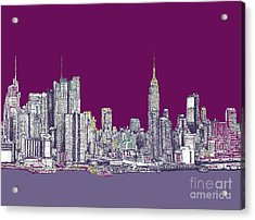 New York In Purple Acrylic Print by Adendorff Design