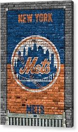 New York Mets Brick Wall Acrylic Print by Joe Hamilton
