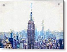 New York Skyline Art- Mixed Media Painting Acrylic Print by Wall Art Prints