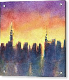 New York Sunset After The Rain Acrylic Print by Beverly Brown