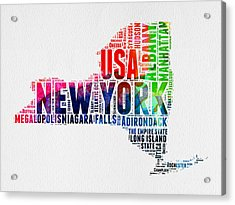 New York Watercolor Word Cloud Map Acrylic Print by Naxart Studio