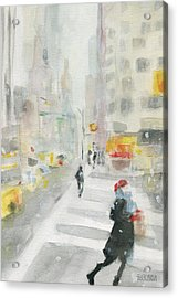 New York Winter 57th Street Acrylic Print by Beverly Brown