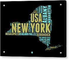 New York Word Cloud Map 1 Acrylic Print by Naxart Studio