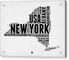 New York Word Cloud Map 2 Acrylic Print by Naxart Studio