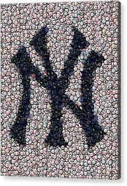 New York Yankees Bottle Cap Mosaic Acrylic Print by Paul Van Scott