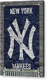 New York Yankees Brick Wall Acrylic Print by Joe Hamilton