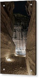 Night At Petra Acrylic Print by Stephen Stookey