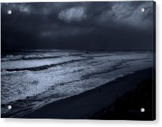 Night Beach - Jersey Shore Acrylic Print by Angie Tirado