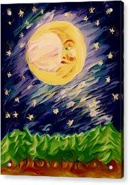 Night Moon Acrylic Print by Shelley Bain