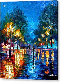 Night Park 2 - Palette Knife Oil Painting On Canvas By Leonid Afremov Acrylic Print by Leonid Afremov