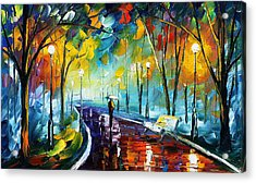 Night Park 3 - Palette Knife Oil Painting On Canvas By Leonid Afremov Acrylic Print by Leonid Afremov