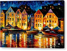 Night Resting Original Oil Painting  Acrylic Print by Leonid Afremov