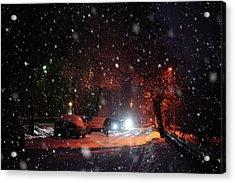 Night Street. Snowy Days In Moscow Acrylic Print by Jenny Rainbow
