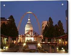 Nighttime At The Arch Acrylic Print by Marty Koch