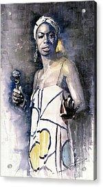Nina Simone Acrylic Print by Yuriy  Shevchuk
