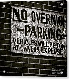 No Parking Acrylic Print by Victory  Designs