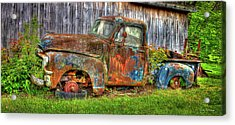 No Tires And Retired 1954 Gmc Stepside Pickup Truck Acrylic Print by Reid Callaway