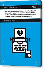 No011-my-miss Lonelyhearts-book-icon-poster Acrylic Print by Chungkong Art