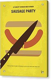 No704 My Sausage Party Minimal Movie Poster Acrylic Print by Chungkong Art