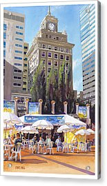 Noon Tunes Pioneer Square Acrylic Print by Mike Hill