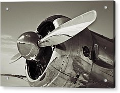 North American Aviation T-6 Texan Plane In Sepia Acrylic Print by Tony Grider