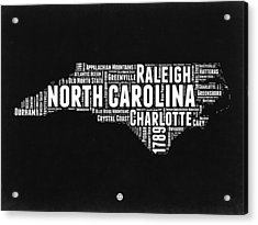 North Carolina Black And White Word Cloud Map Acrylic Print by Naxart Studio