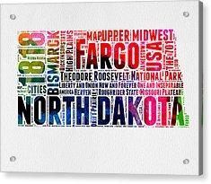North Dakota Watercolor Word Cloud  Acrylic Print by Naxart Studio