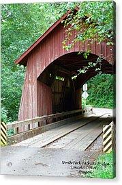 North Fork Yachats Bridge 2 Acrylic Print by Methune Hively