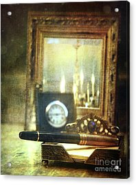 Nostalgic Still Life Of Writing Pen With Clock In Background Acrylic Print by Sandra Cunningham