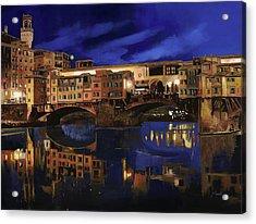 Notturno Fiorentino Acrylic Print by Guido Borelli