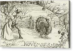 November   Vintage Thanksgiving Card Acrylic Print by American School