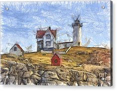 Nubble Light Cape Neddick Lighthouse Sohier Park York Maine Pencil Acrylic Print by Edward Fielding