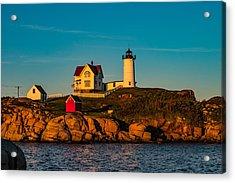 Nubble Lighthouse At Half Mast Acrylic Print by Jeff Folger