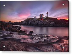 Nubble Lighthouse At Sunrise York Me Acrylic Print by Betty Denise