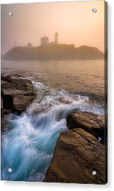Nubble Morning Fog Acrylic Print by Darren White