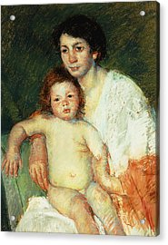 Nude Baby On Mother's Lap Resting Her Right Arm On The Back Of The Chair Acrylic Print by Mary Stevenson Cassatt