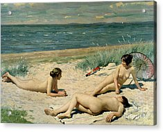 Nude Bathers On The Beach Acrylic Print by Paul Fischer