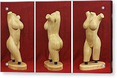 Nude Female Wood Torso Sculpture Roberta    Acrylic Print by Mike Burton
